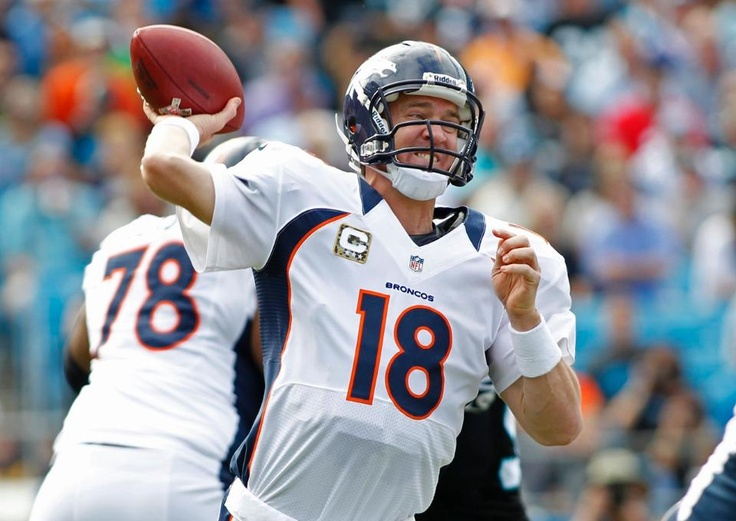 QB Peyton Manning fires a pass in the first quarter of action. Broncos vs. Panthers 11-11-2012.