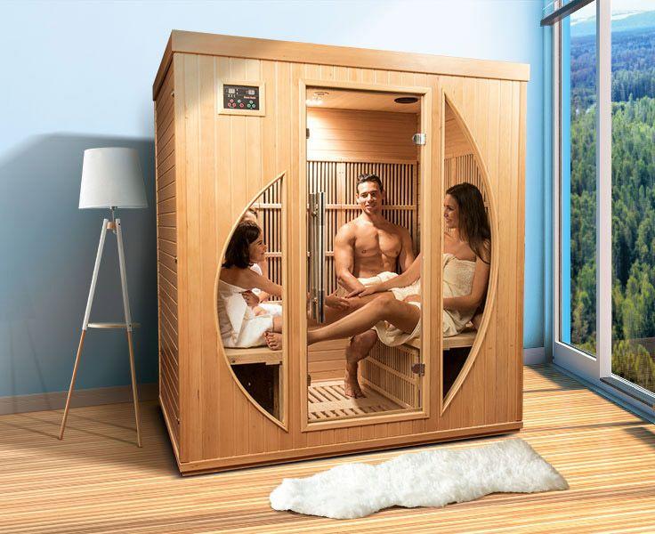 """Unsere Infrarot-Wärmekabine """"Rowen"""" ist ein wahrer Hingucker und ausgelegt für 3 bis 4 Personen. Inkl. Digitalsteuerung, Kabinenbeleuchtung, Farblichttherapie, Radio/MP3 mit Fernbedienung, Lautsprecher und viel mehr. Bei POOLSANA bekommen Sie diese Luxus-Infrarotkabine zum Schnäppchenpreis! #wellness #infrarot #sauna #infrarotkabine #infrarotwärme"""