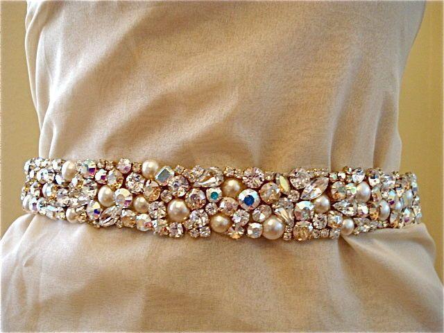 Swarovski Crystal and Pearl Bridal Sash