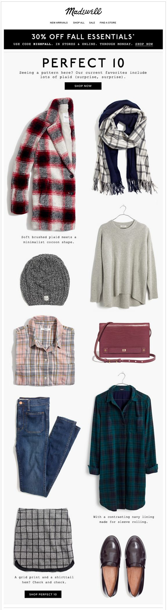 Madewell fall clothes email. Subject line: Today's edition of Perfect 10, starring plaid