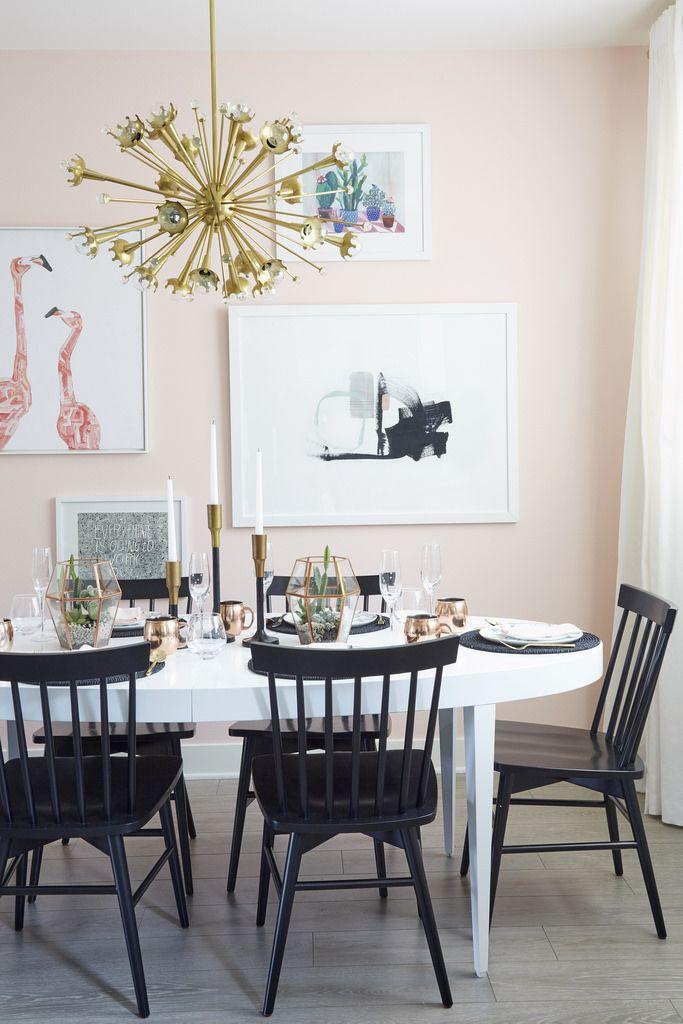 Nicolette mason home featuring jonathan adler sputnik chandelier http www jonathanadler · pink dining roomsdining room