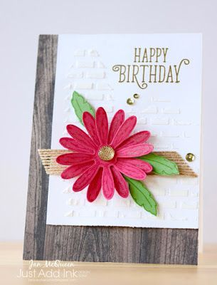 Birthday card using Stampin Up's Daisy Delight and Happy Birthday Gorgeous by Jan McQueen for JAI #378. More info @ www.janscreativecorner.blogspot.com