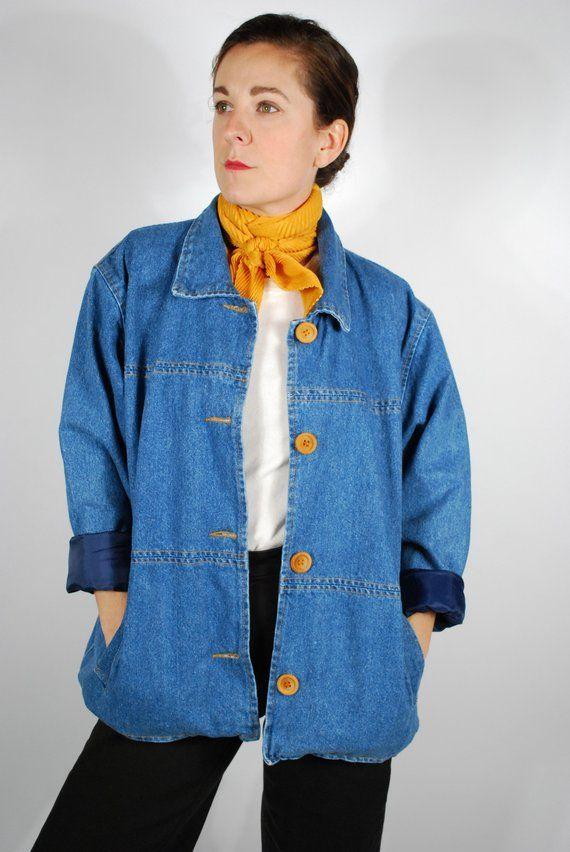 98d483495 Vintage Denim Chore Jacket - Jean Jacket - Oversized Fall Outerwear ...