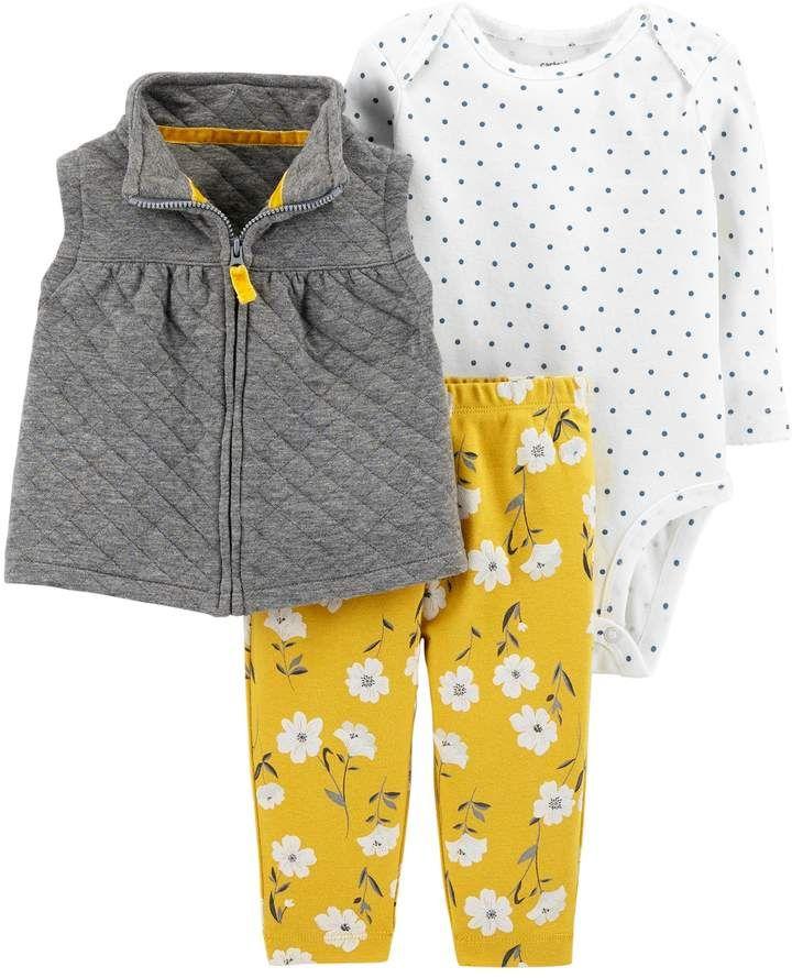 1d8322d68 Carter's Baby Girl Quilted Vest, Polka Dot Bodysuit & Floral Leggings Set