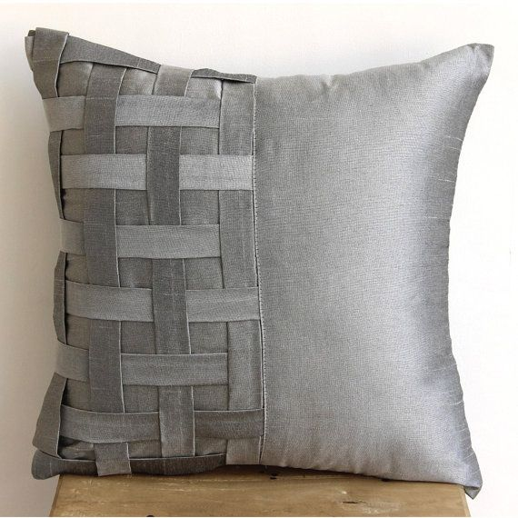 Designer Silver Grey Pillow Covers, Basket Weave & Pintucks Pillows Cover Square 18″x18″ Silk Pillowcase For Couch – Grey Silver Bricks