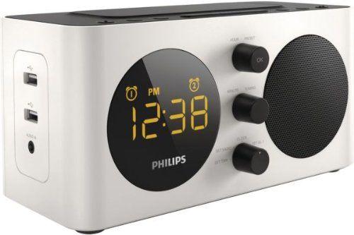 Philips AJ6000 Radio réveil avec tuner FM, deux ports USB de recharge, prise AUX, batterie de secours, double alarme, Blanc: Rechargez vos…