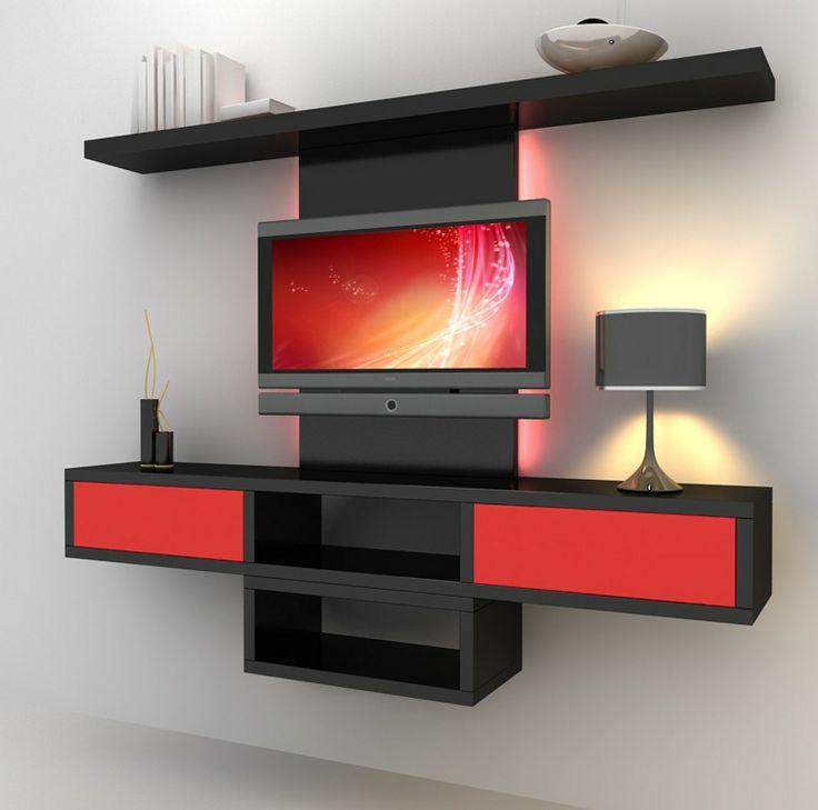 rangement salon moderne et meuble de télé moderne en rouge et noir  Idées po -> Rangement Tele Et Sono