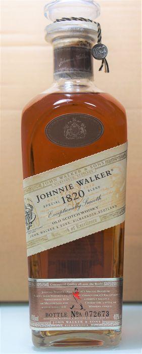 Johnnie Walker 1820 (uit assortiment editie)  Johnnie Walker 1820 was een eenmalige limited edition voor de Japanse markt bedoeld als een premium mix aanbieden. De inhoud zijn geruchten op ongeveer 21 jaar oud en de mix is vernoemd naar het jaar van de Stichting van het bedrijf. Dit is een uiterst zeldzaam Johnnie Walker Bottle die een speciale mix van 40 jaar oud whisky's. Het is een perfect evenwicht tussen zachtheid en karakter.ALC: 40%Vol.: 70clVerpakking: zonder kader  EUR 1.00  Meer…
