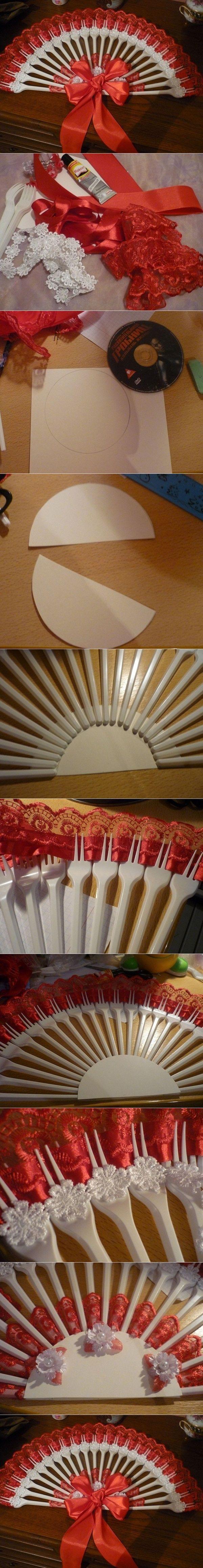 DIY Upcycled Plastic Fork Fan | www.FabArtDIY.com LIKE Us on Facebook ==> https://www.facebook.com/FabArtDIY