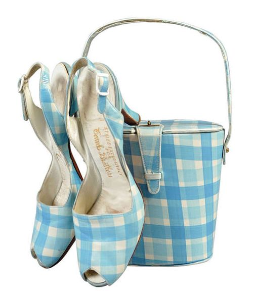 Shoes and Purse  1950s blue checks plaid
