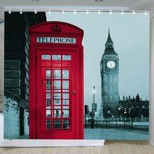 Новый Известная Достопримечательность Города Узор шторы для гостиной Лондон Биг Бен шторы для спальни Полиэстер Душевой Занавес Cortinas(China (Mainland))