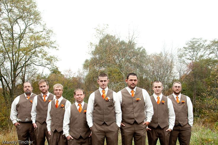 Mr. and Mrs. Shipe | WV Wedding Photographer - Perfect Brown & Orange Groom & Groomsmen Attire :)