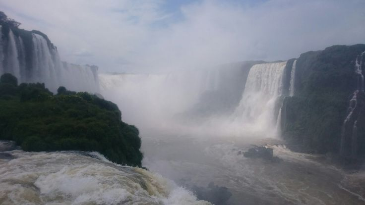 Iguacu Falls, Brazil. 240  waterfalls from 3 countries: Brazil, Argentina and Paraguay, all flowing into the Iguacu River. A fascinating display of mother nature.  #waterfall #nature #Brazil #Argentina #Paraguay