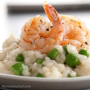 Miso Butter Risotto w/ Pan-Roasted #Shrimp & Peas. Dbl-click pic for # ...