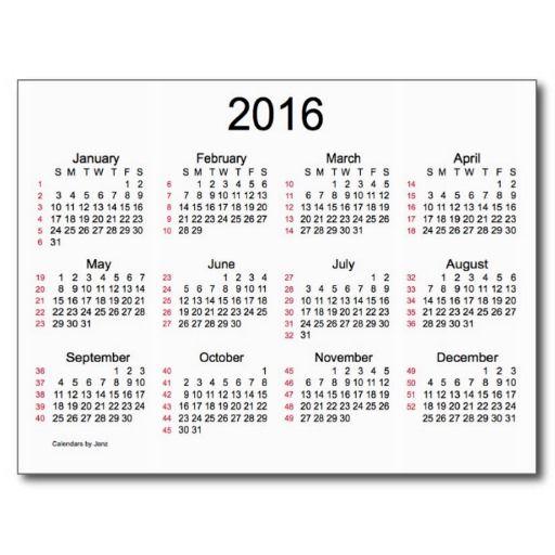 52 weeks 2016 mini calendar by janz postcard support small