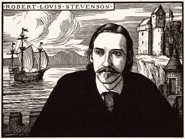Robert Bryden (1865-1939), R-L Stevenson - Gravure sur Bois, 1899