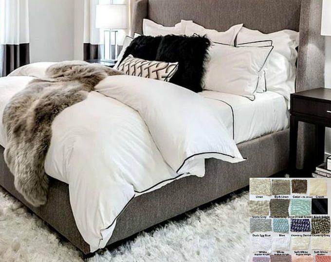 Black Reversible Quilt Cover Stripe 100 Cotton Duvet Cover Etsy Grey Bedroom With Pop Of Color Bedroom Design White Linen Duvet Covers