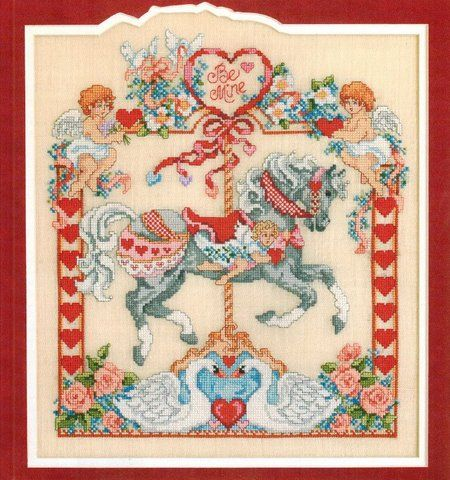 Leisure Arts Holiday Horses - Cross Stitch Pattern. A delightful collection of carousel horses for Christmas, Valentine's Day, Easter, Fourth of July, Halloween