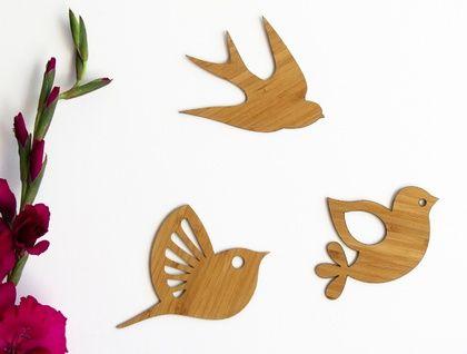 Bamboo flock of Birds Wall Art  - Set of 3 flying birds in silhouette