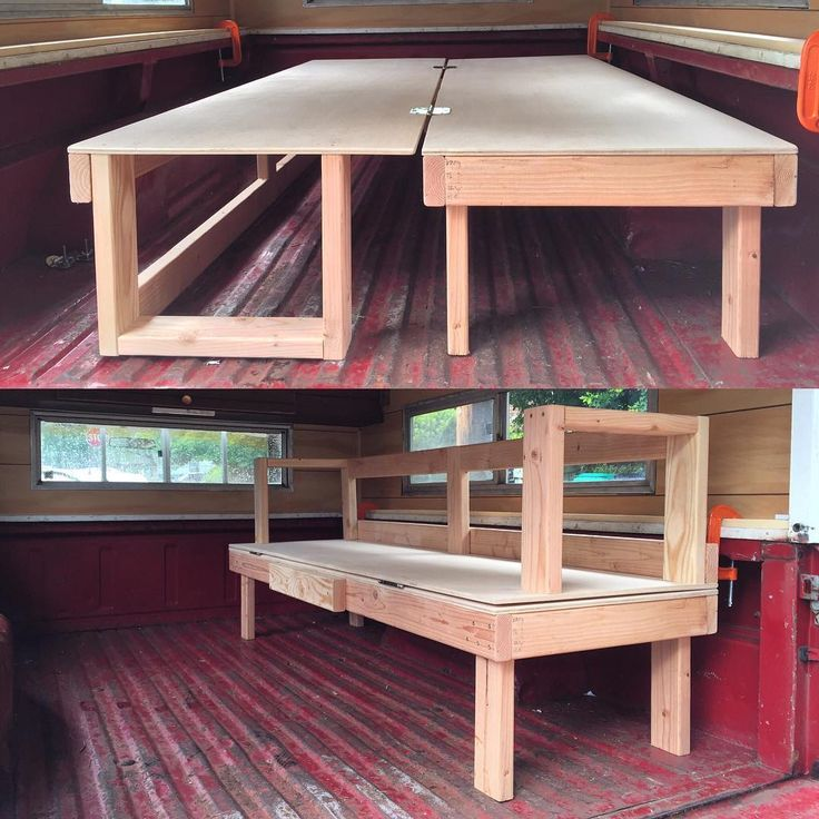 So I'm pretty stoked. Threw this thing together with just a picture in my head, and now I've got a bed that folds into a bench. I'm no carpenter so it's nothing fancy, but it'll serve its purpose well. #truckcamping