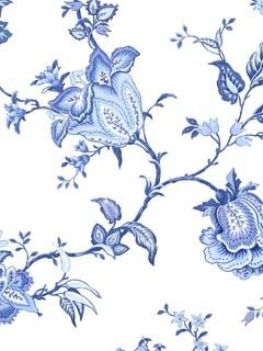 Blue flower wallpaper, I actually like this for tile in a bathroom!