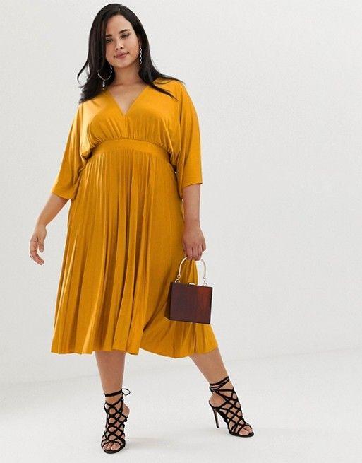 c33cace6c2bf DESIGN Curve Exclusive Pleated Slinky Kimono Midi Dress in 2019 ...