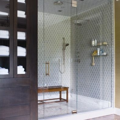 Love the tiles!: Bathroom Design, Tile Design, Shower Design, Tile Patterns, Shower Doors, Glasses Shower, Bathroom Ideas, Shower Tile, Contemporary Bathroom