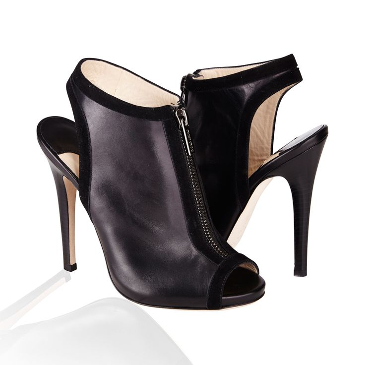 Jimmy Choo Mira Peep Toe Leather Boot Black -  Simple yet striking, these peep toe booties boast a very modern silhouette that accentuates the curve of the foot. Wear with cropped trousers to show off the zip hardware and suede edging. Jimmy Choo runs small; order a half size larger than you typically wear.