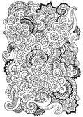 Fondo de vector con garabatos, flores y paisley de Doodle. Patrón étnico vector puede utilizarse para fondo de pantalla, llena de patrones, libros y páginas de colorear para niños y adultos. Blanco y negro Ilustraciones De Stock Sin Royalties Gratis
