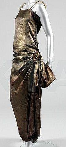Paul Poiret - Robe de Soirée - Soie Métallisée Bronze et Perles Baroques - Vers 1922