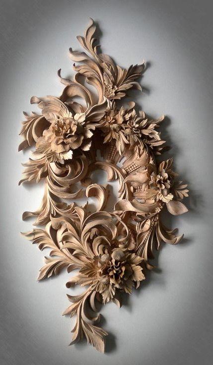 ☆ Ornamental Hand Carved Wood Flowersゝ。Artist Alexander Grabovetskiy ☆