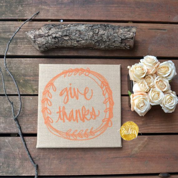 Give Thanks Burlap Wall Hanging Fall Decoration by GoldenPaisley
