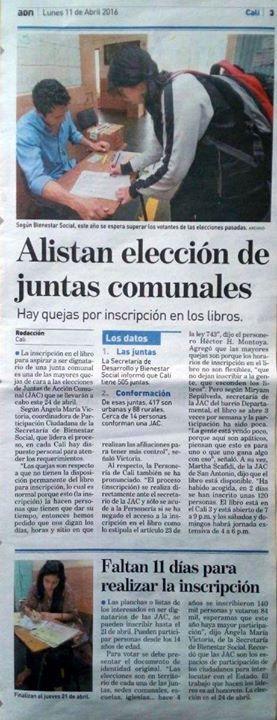 [Prensa - ADN Cali]  Alistan elección de Juntas de Acción Comunal de Cali - JAC