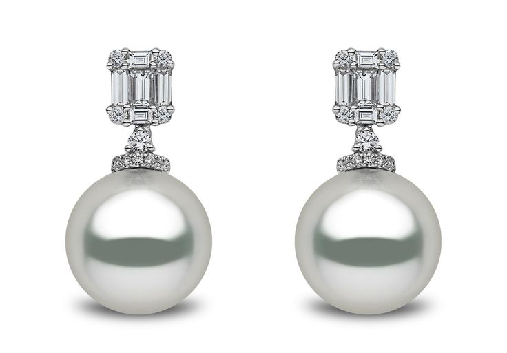 Earrings from the Yoko London Mayfair Collection featuring 13-14mm South Sea pearls and 1.09cts diamonds in 18kt white gold.