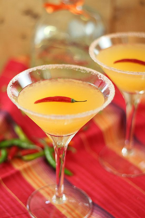 Red Chile Martini - Tequila and mango puree with Cayenne pepper/salt rim.