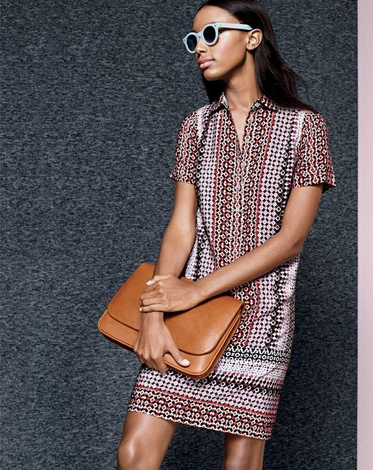 J.Crew pink geo dress, Cutler and Gross® for J.Crew 0737 sunglasses, Sophie crossbody bag. To preorder call 800 261 7422 or email erica@jcrew.com.