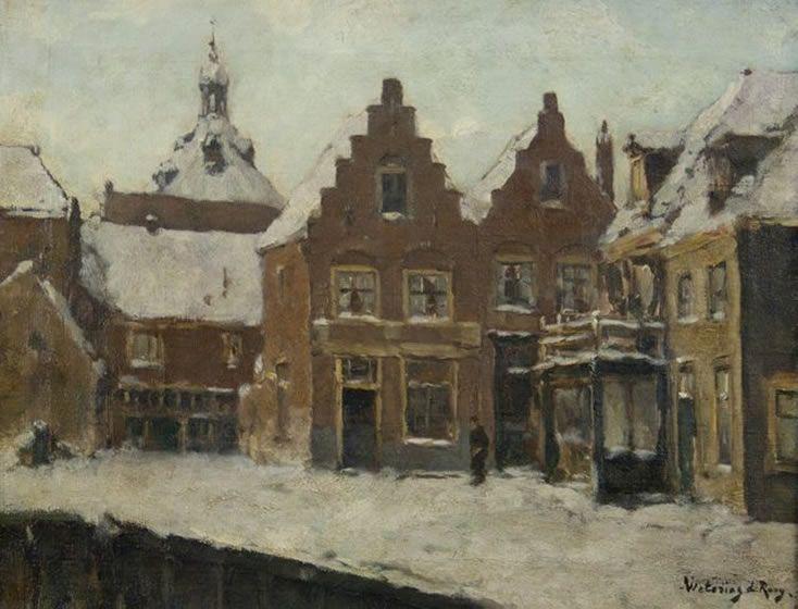 Johannes Embrosius van de Wetering de Rooy. Enkhuizen in winterse tooi. H 34,5 x B 44,5 cm.  Boven de huisjes van 'het Suud' uit rijst de Drommedaris met sneeuwhoed. Olieverf op linnen.
