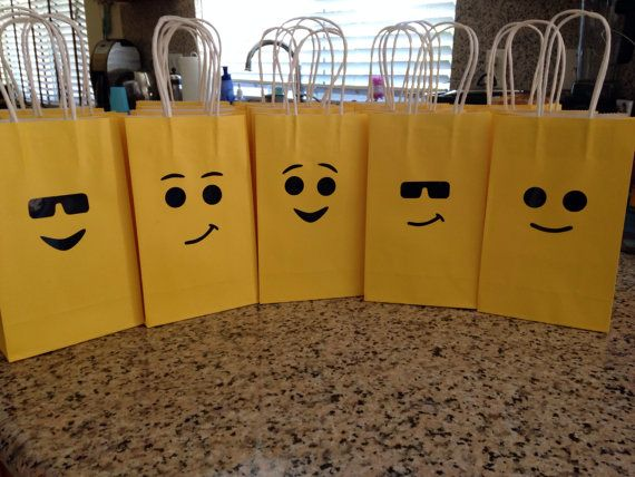 variety of Lego face stickers for adding to plates, bags, balloons, etc. for your Lego party 3 SETS