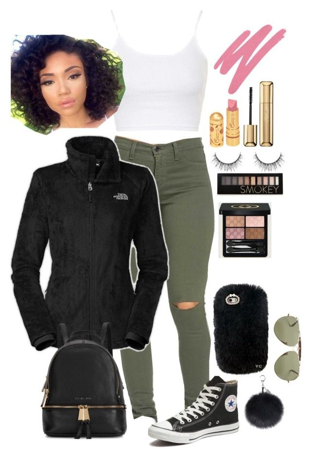 """"""""""" by cydneyrhodes on Polyvore featuring Converse, The North Face, Topshop, Michael Kors, NARS Cosmetics, Guerlain, Forever 21, Gucci, women's clothing and women"""
