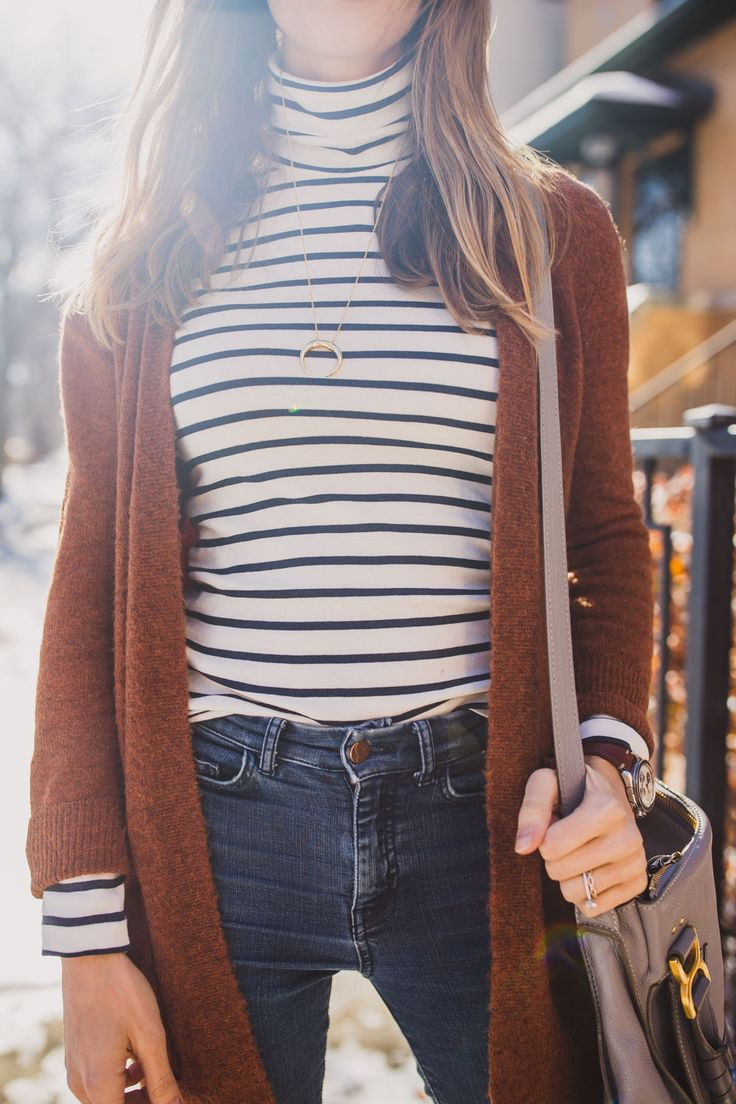 striped shirt and sweater outfit