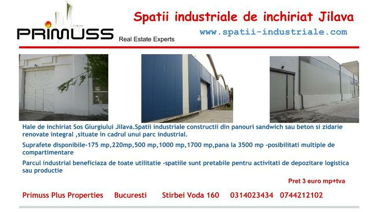 www.spatii-industriale.com Hale de inchiriat Sos Giurgiului Jilava.Spatii industriale constructii din panouri sandwich sau beton si zidarie renovate integral,situate in cadrul unui parc industrial. Suprafete disponibile-175 mp,220mp,500 mp,1000 mp,1700 mp,pana la 3500 mp -posibilitati multiple de compartimentare                                                                                                                                              Pret 3 euro mp+tva    0744212102