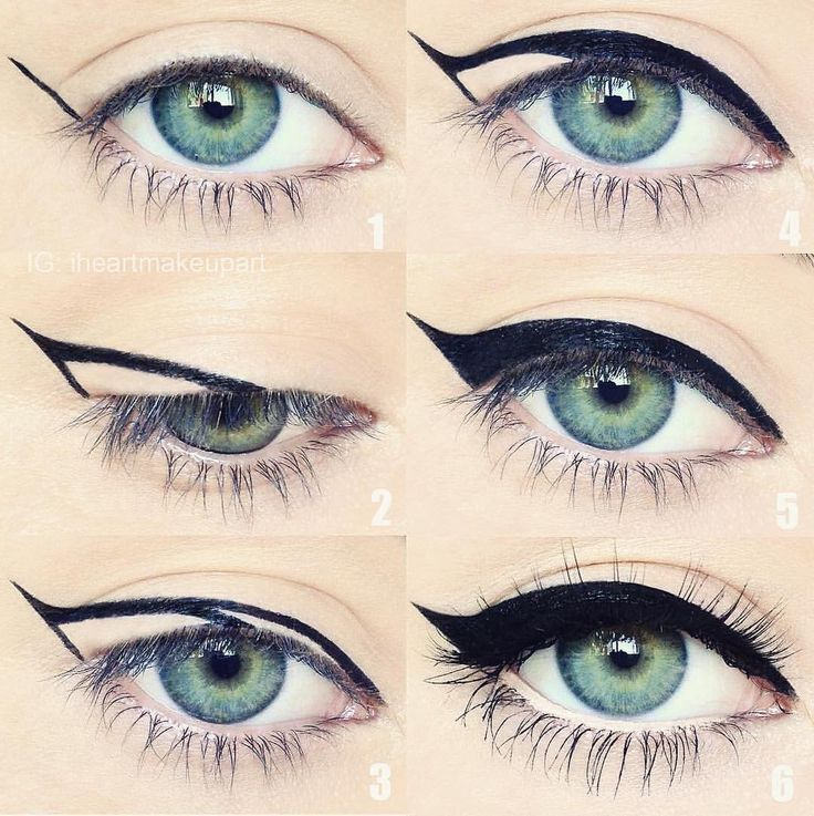 """Motives Cosmetics on Instagram: """"A step-by-step guide to the perfect cateye by @iheartmakeupart Do you guys love this or what??  #Repost Cat eye cheat sheet  Some of you have been telling me you have problems creating a wing and asking for tips so here is a little hack that might help! I did this pictorial awhile ago and it's all around the Internet, but for those who haven't seen it yet I hope you find it helpful!"""""""