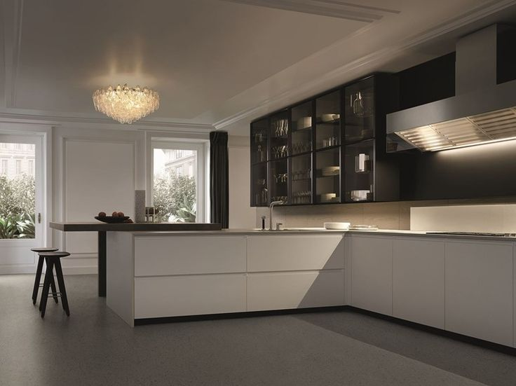 Download the catalogue and request prices of Trail by Varenna By Poliform, lacquered kitchen with integrated handles with peninsula design Carlo Colombo, CR&S Varenna