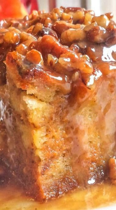 Pumpkin Praline Bread Pudding | fall cake, pumpkin dessert recipe