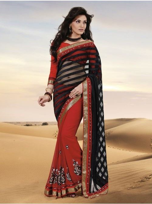 #Black and #red #Chiffon and #Brasso #HalfandHalfSaree