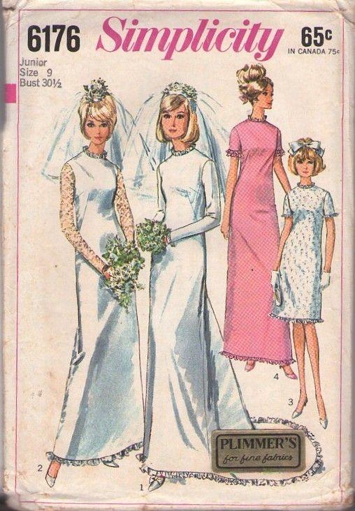 MOMSPatterns Vintage Sewing Patterns - Simplicity 6176 Vintage 60's Sewing Pattern BEAUTIFUL Mod Petite Sheer Lace Sleeves Slim Sheath Wedding Gown, Pooled Train, Eyelet Fancy Party Dress