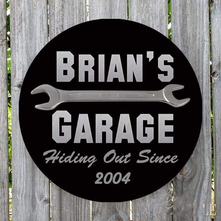 PERSONALIZED ROUND HIDING OUT SINCE METAL GARAGE SIGN