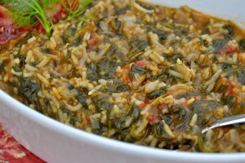 Spanakorizo - Greek spinach Risotto (Recipe)