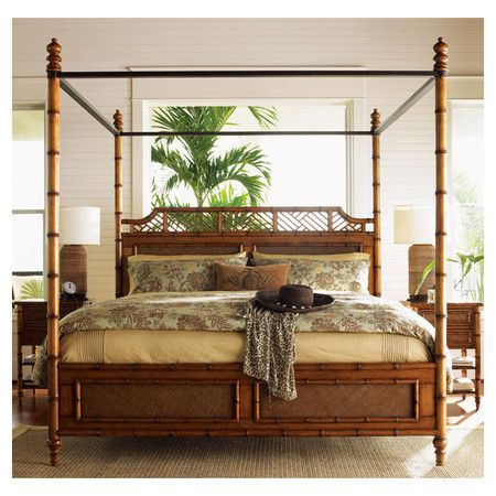 West Indies Bed. Solid wood four poster, canape bed with maple veneers and woven rattan panels.