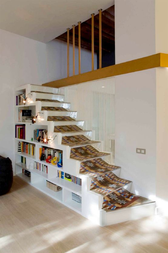 Flat with Smart Mezzanines of Storage and Art Craft Ceiling – SANTPERE47 by Miel Architects | DigsDigs